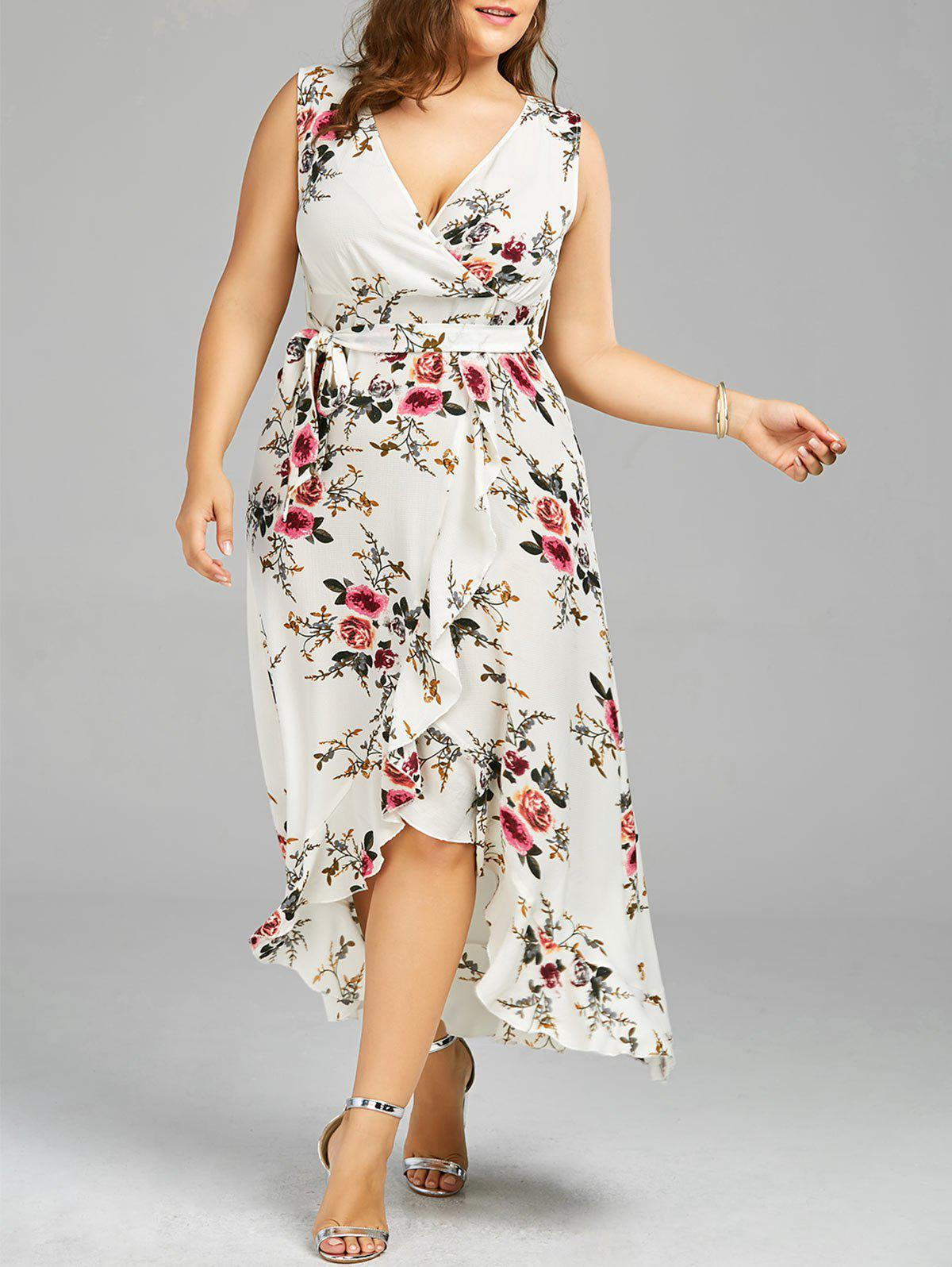 2018 Plus Size Tiny Floral Overlap Flounced Flowy Beach Dress White