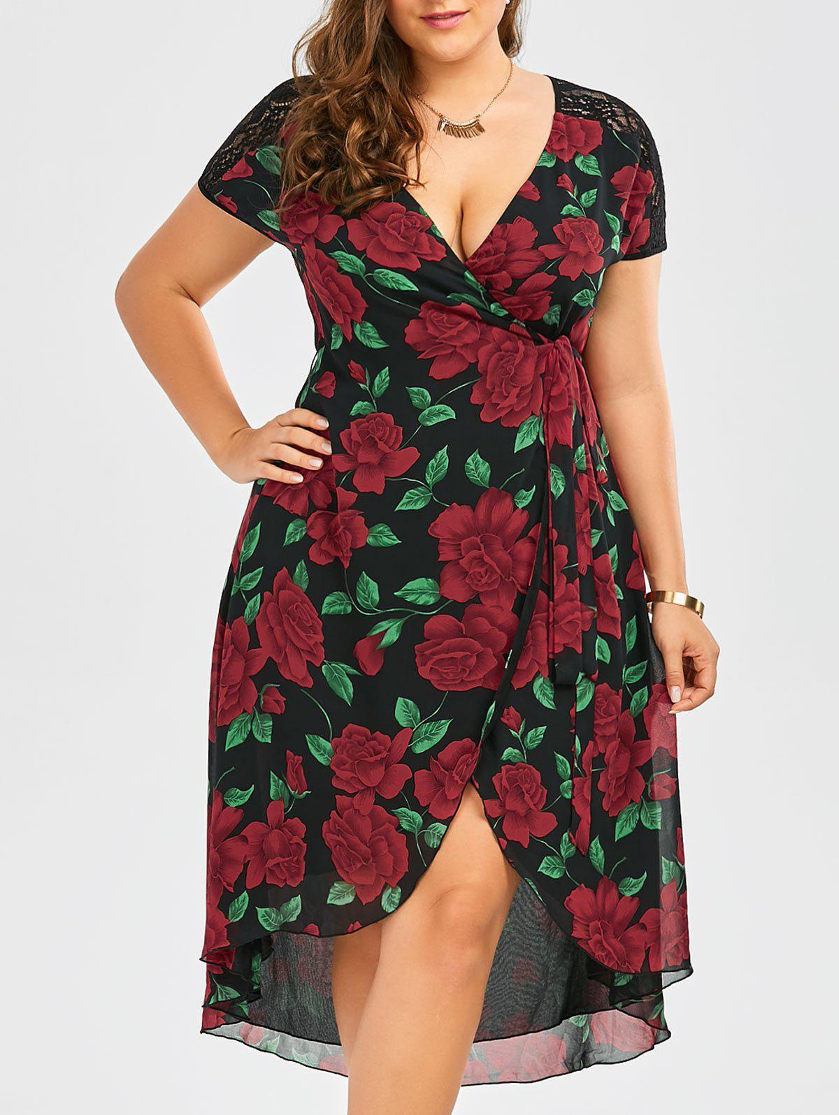 Plus Size Floral Print Lace Panel Asymmetrical Wrap Dress - BLACK 4XL