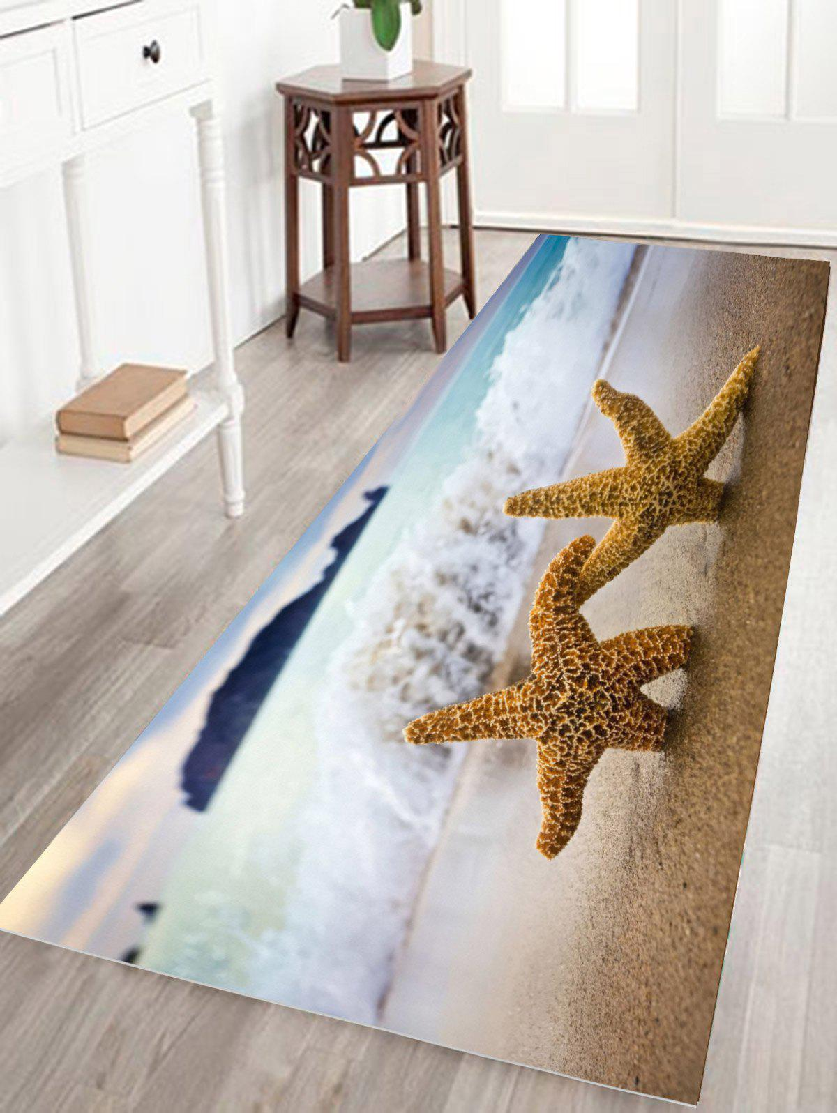 Starfish Print Water Absorption Flannel Antiskid Bathroom Rug antiskid starfish conch print bath rug