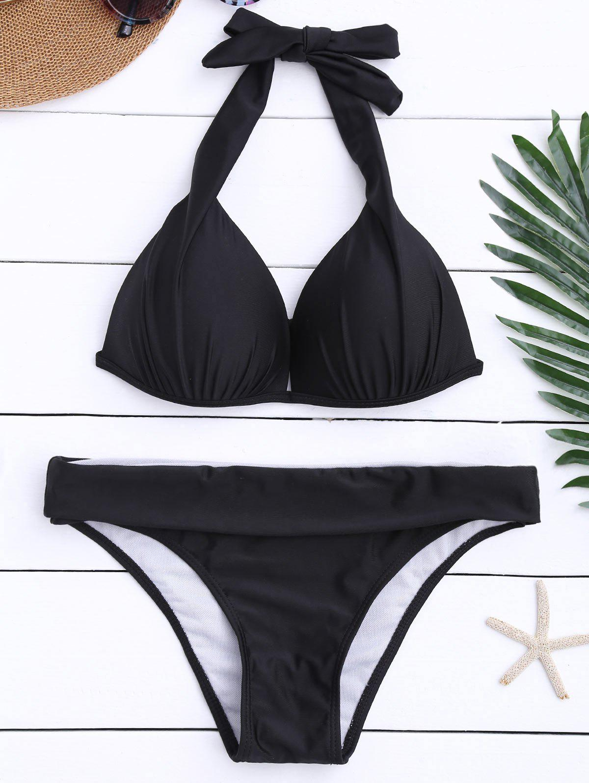 Moulded Halter Push Up Bikini Set - BLACK M