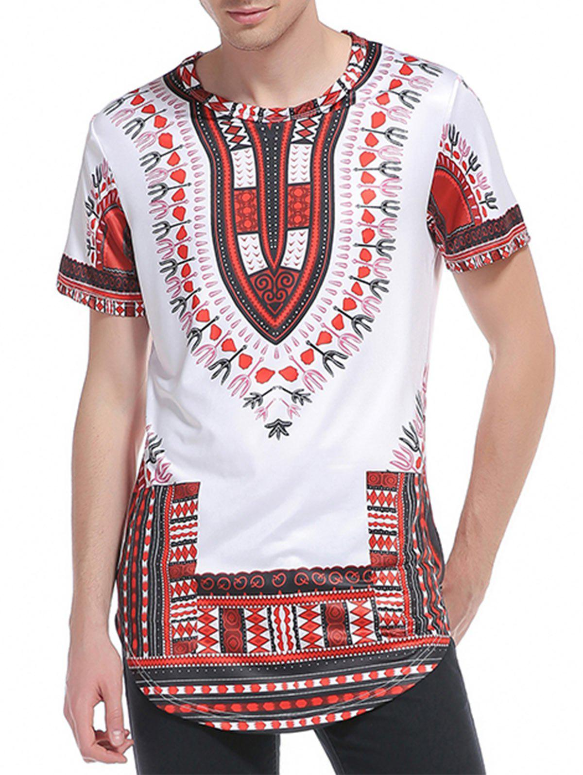 Ethnic Style Print Short Sleeve Curve Bottom T-Shirt - RED 2XL