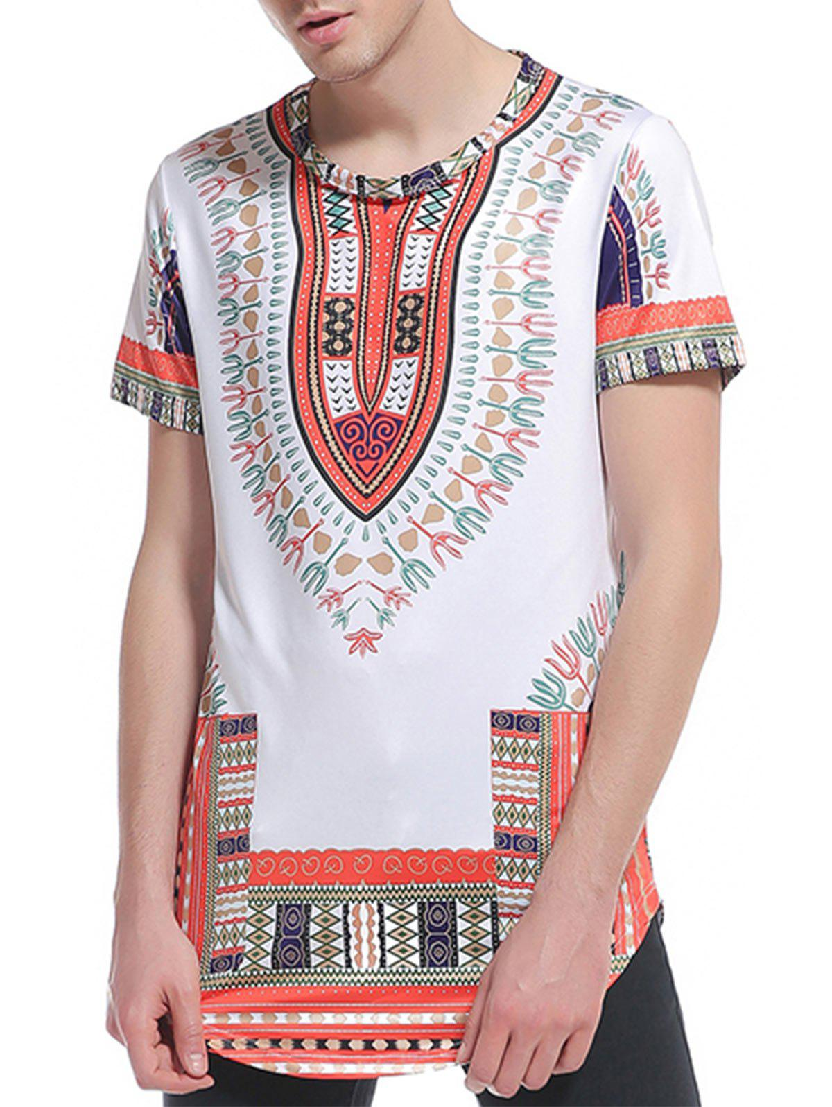 Ethnic Style Print Short Sleeve Curve Bottom T-Shirt - JACINTH S