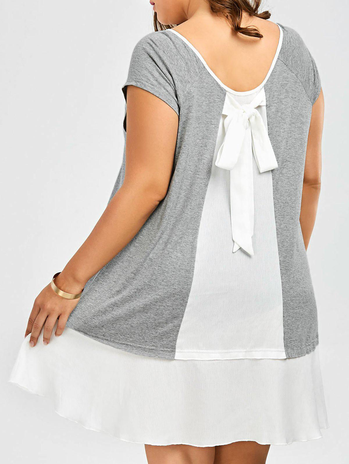 Plus Size Bowknot Detail Flapper Tee Dress side bowknot embellished plus size sweatshirts
