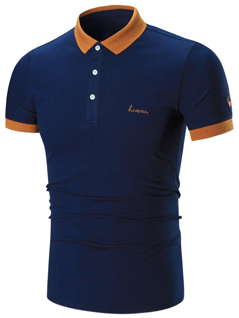 Two Tone Embroidered Polo Shirt - CADETBLUE XL