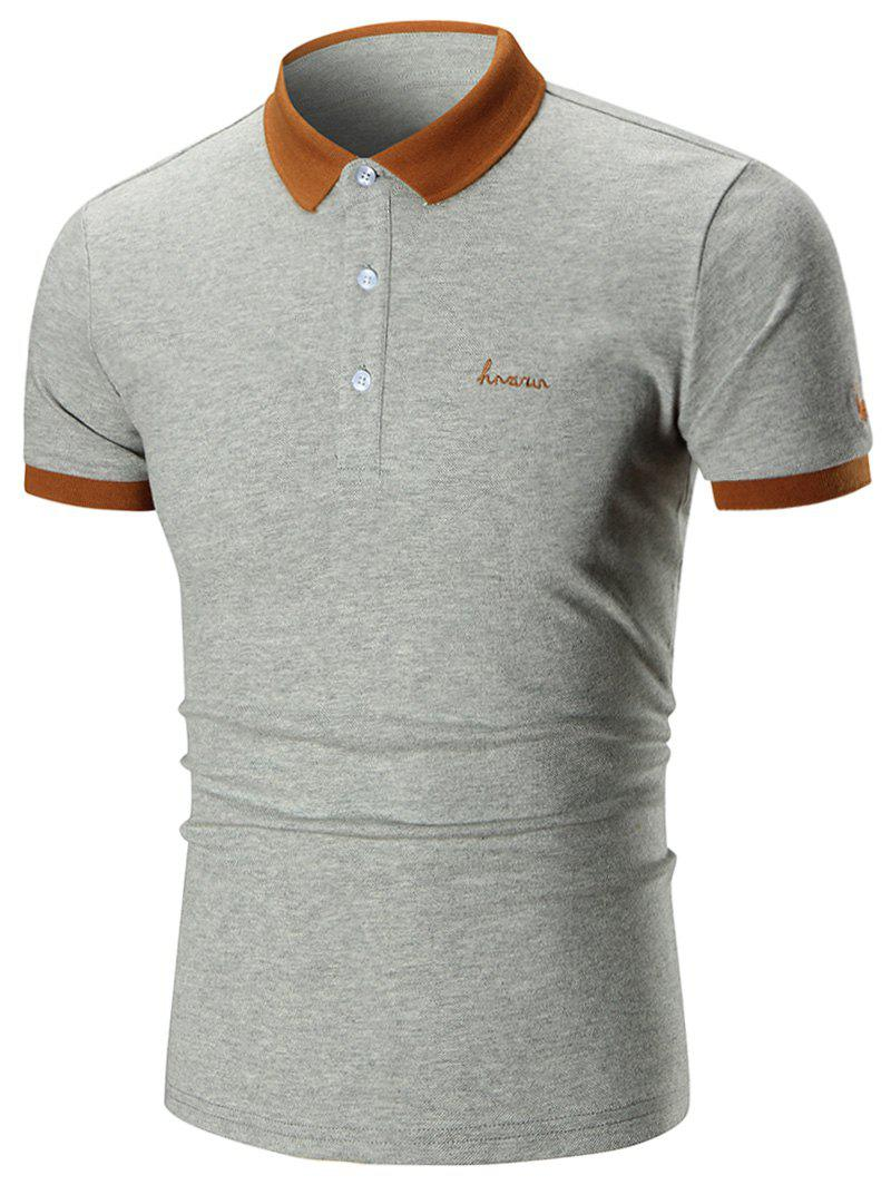 Two Tone Embroidered Polo Shirt - GRAY XL