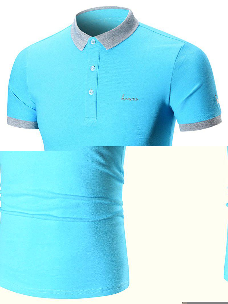 Two Tone Embroidered Polo Shirt - AZURE XL