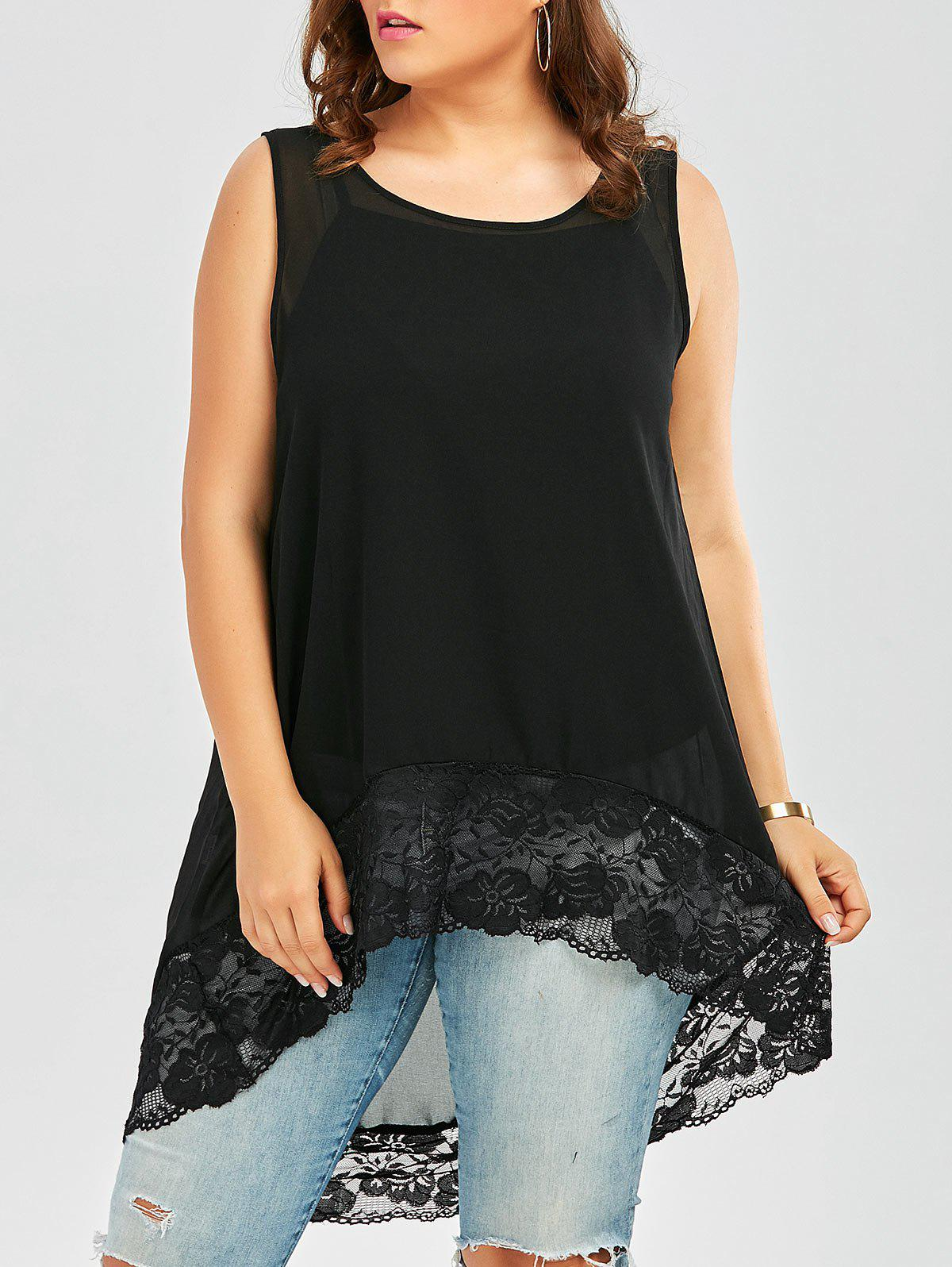 Plus Size Lace Trim Chiffon Flowy High Low Top plus size sheer lace trim ruched top