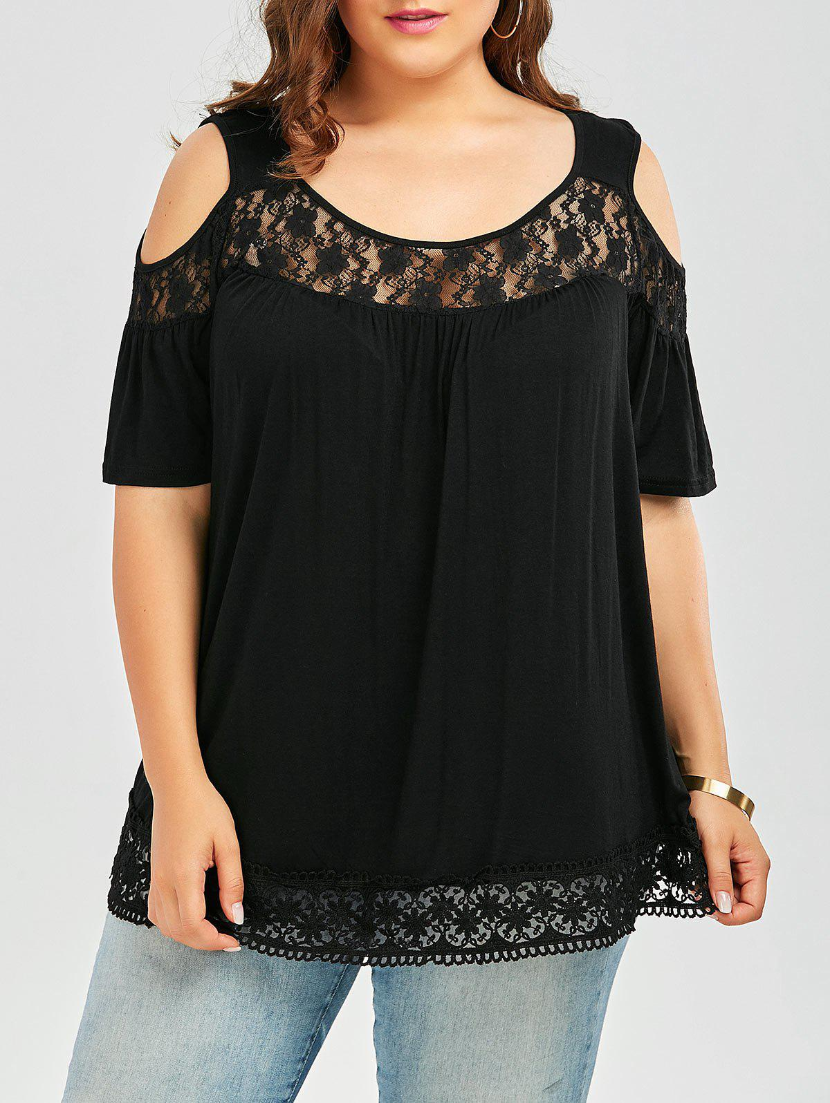 Plus Size Lace Trim Cold Shoulder Smock Top - BLACK 5XL