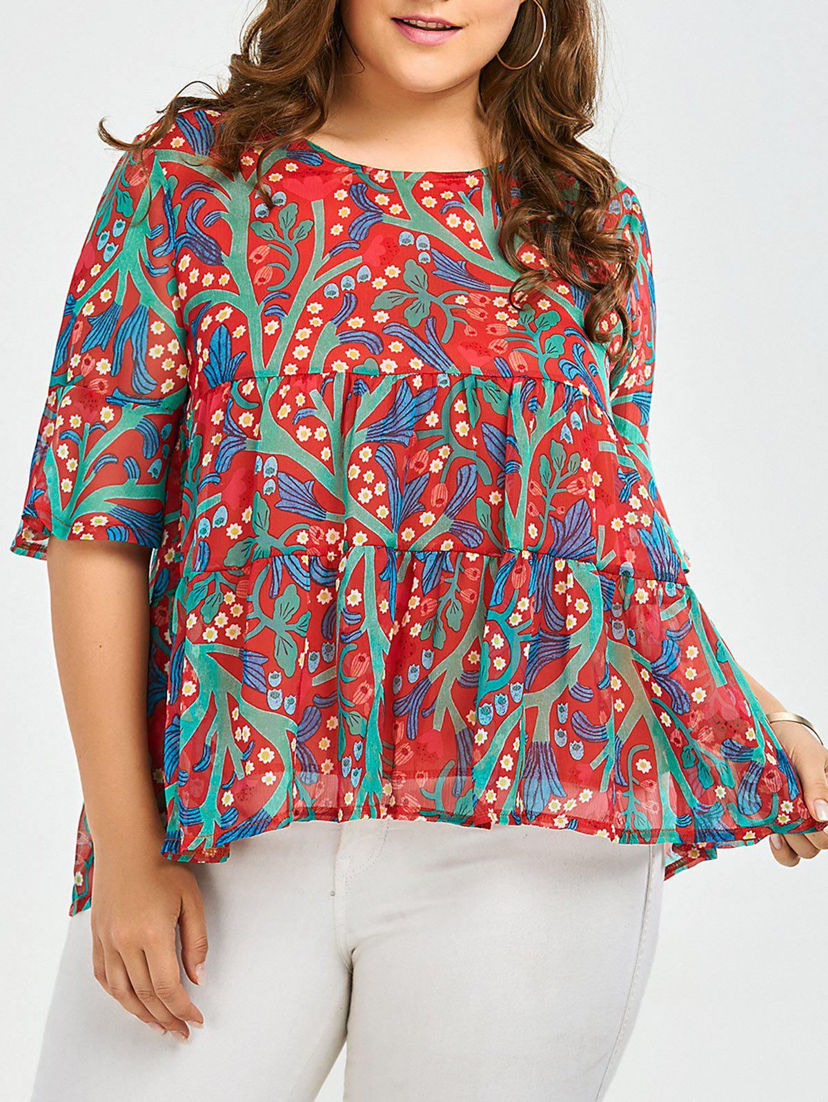 Plus Size Chiffon Ruffled Floral Top - RED 3XL
