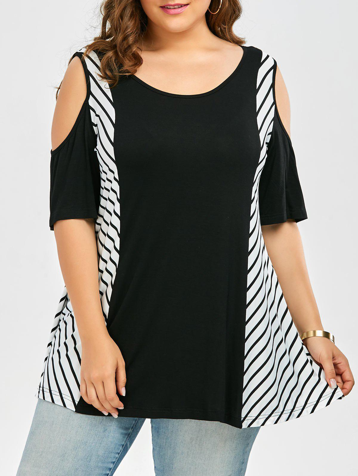 Plus Size Striped Cold Shoulder T-Shirt - BLACK 4XL