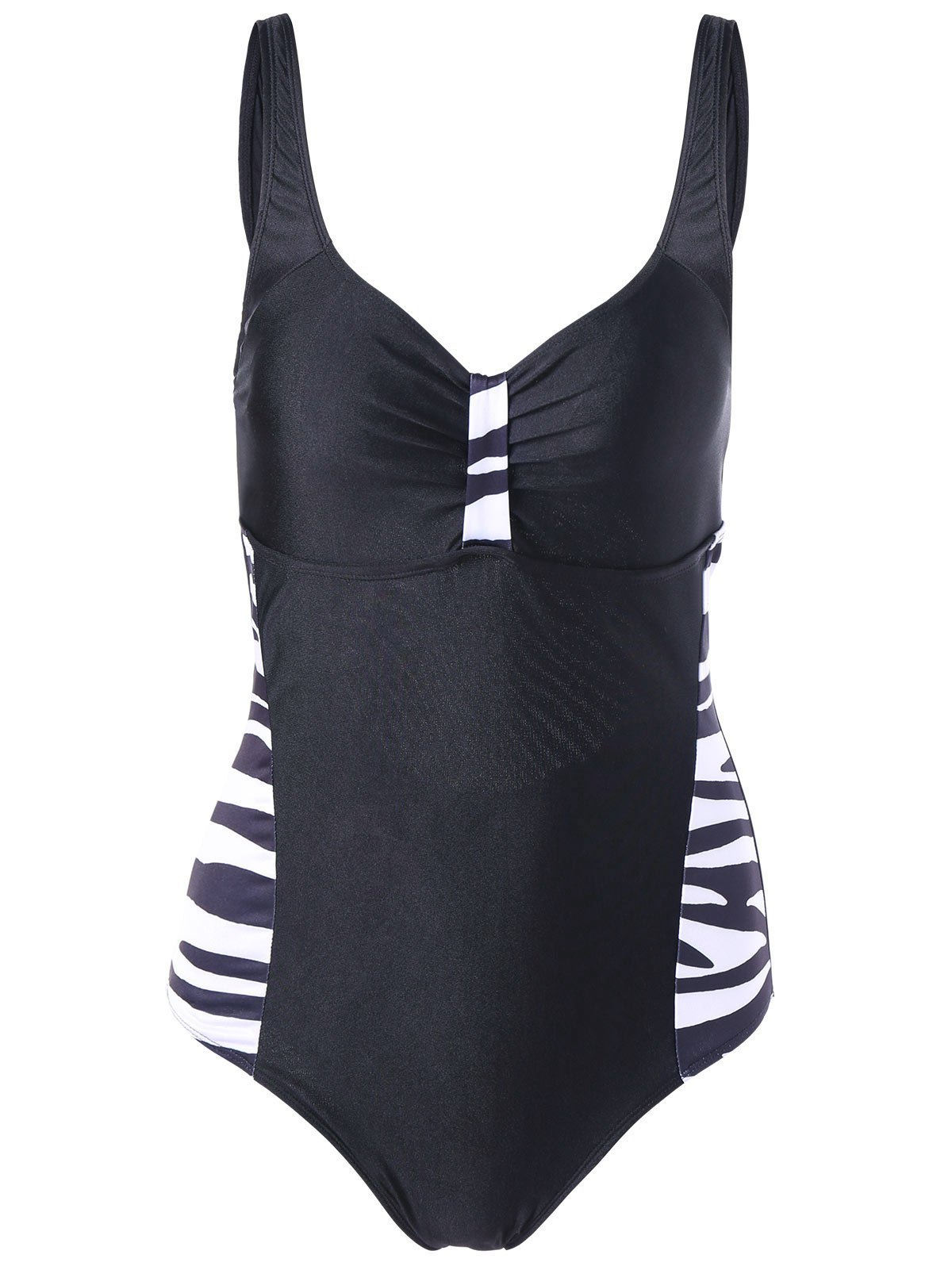 Cut Out Padded Bra One-Piece Swimsuit - BLACK XL