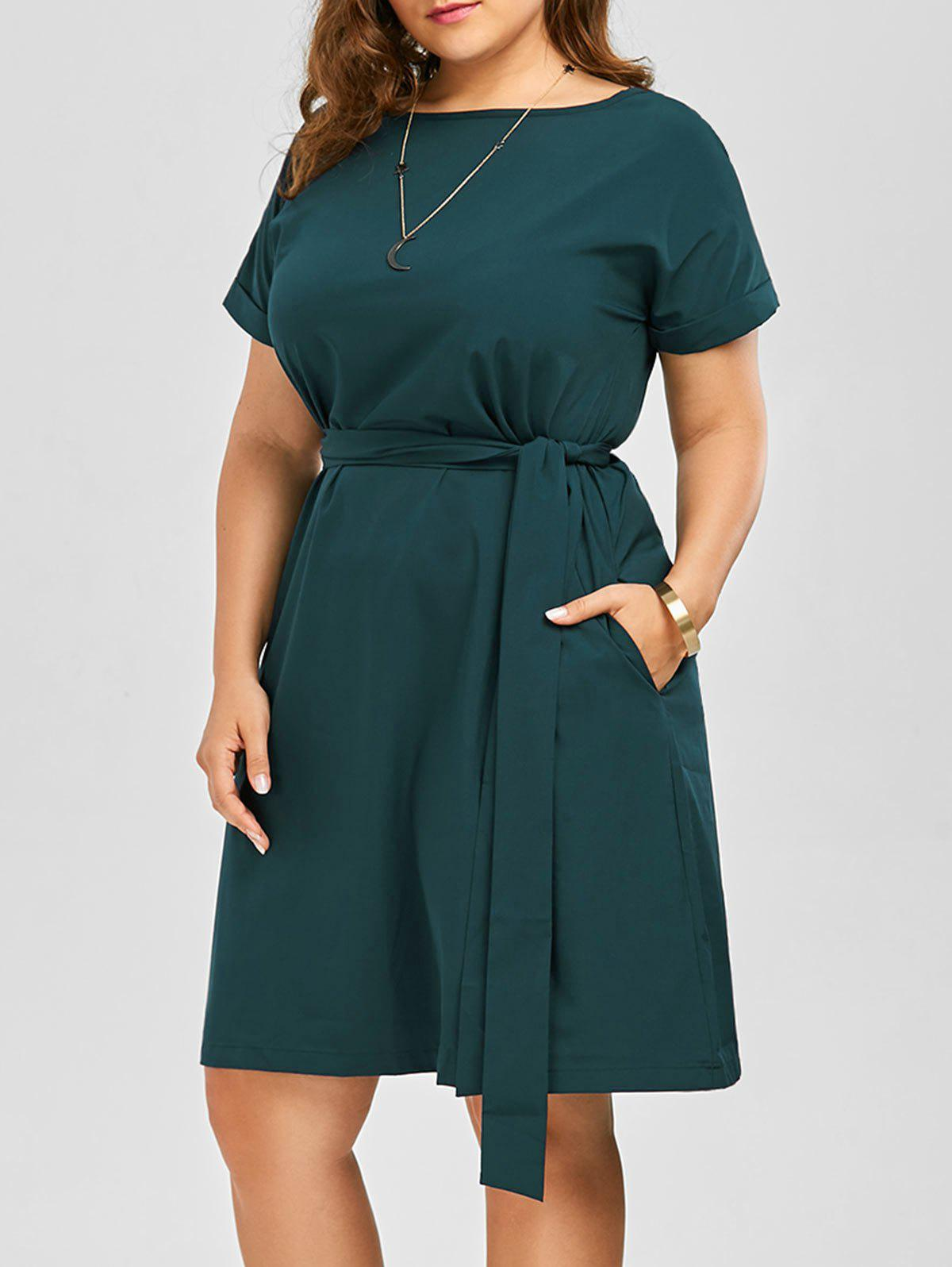 Plus Size Belted Knee Length Dress With Pockets plus size double pockets knitted dress