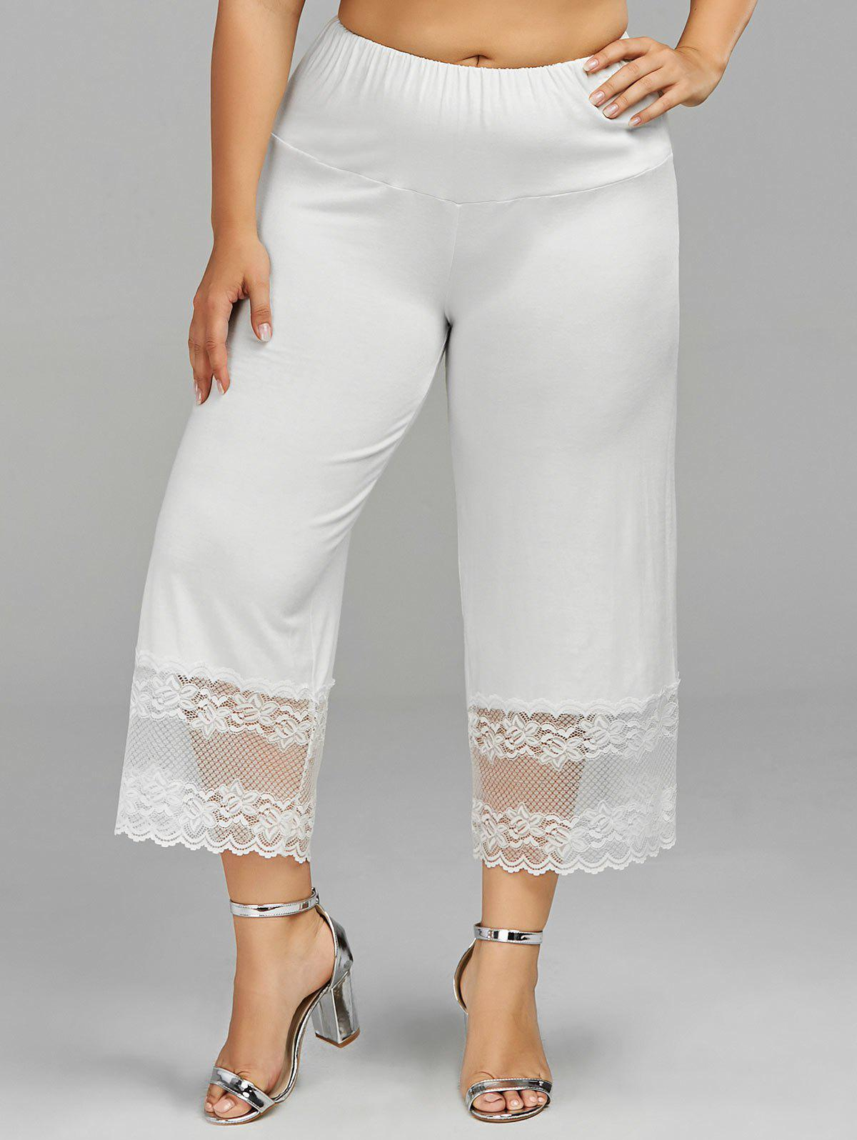 Lace Trim Palazzo Plus Size Pants - WHITE 4XL