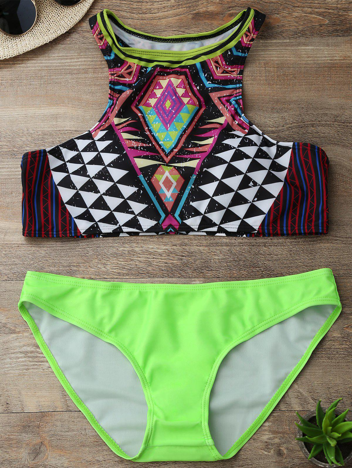 Round Neck Geometric Print Two-Piece Swimsuit - GREEN M