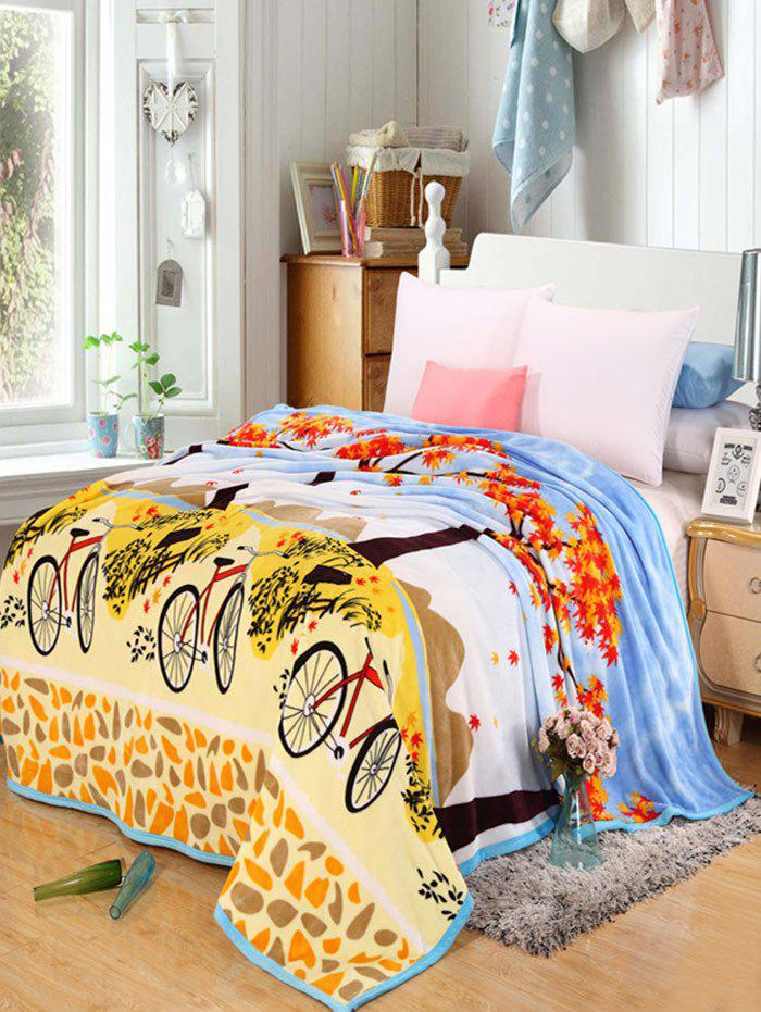 Maple Bicycle Print Super Soft Bedding Throw Blanket - YELLOW FULL