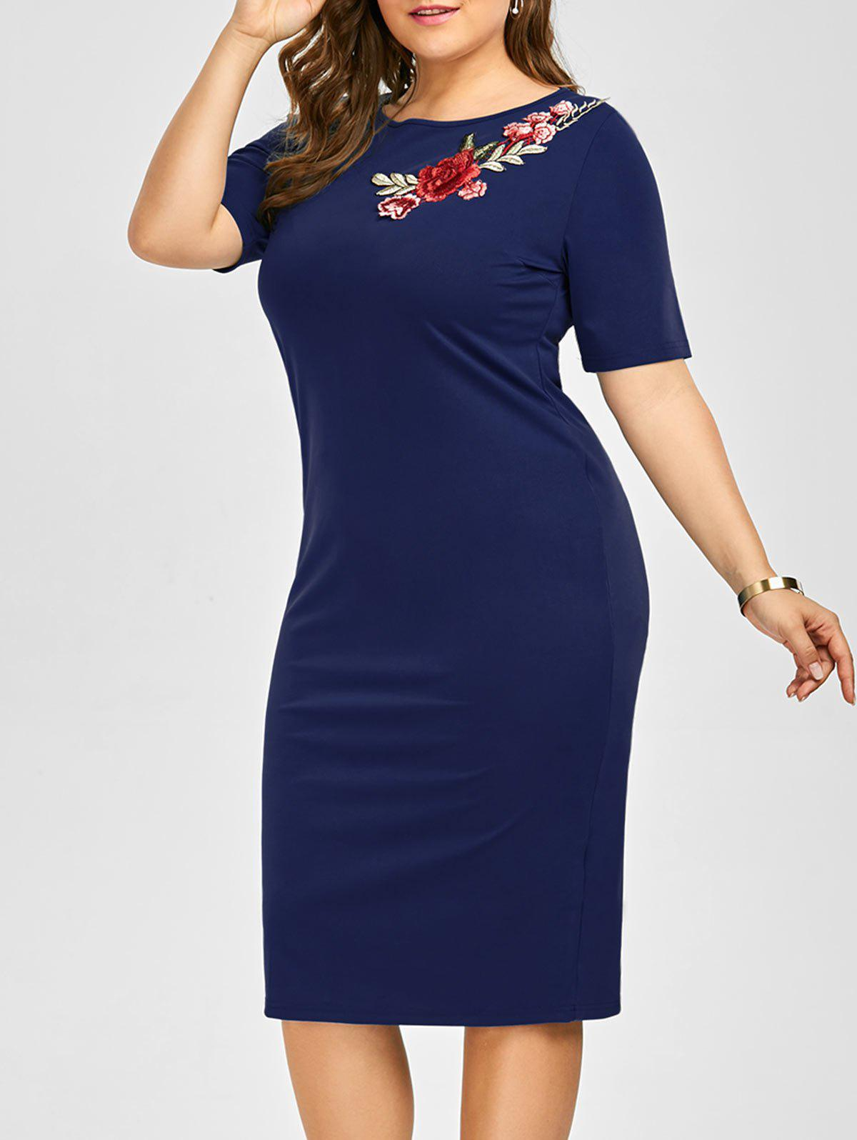 Plus Size Embroidered Embellished Midi Sheath Dress - DEEP BLUE 6XL