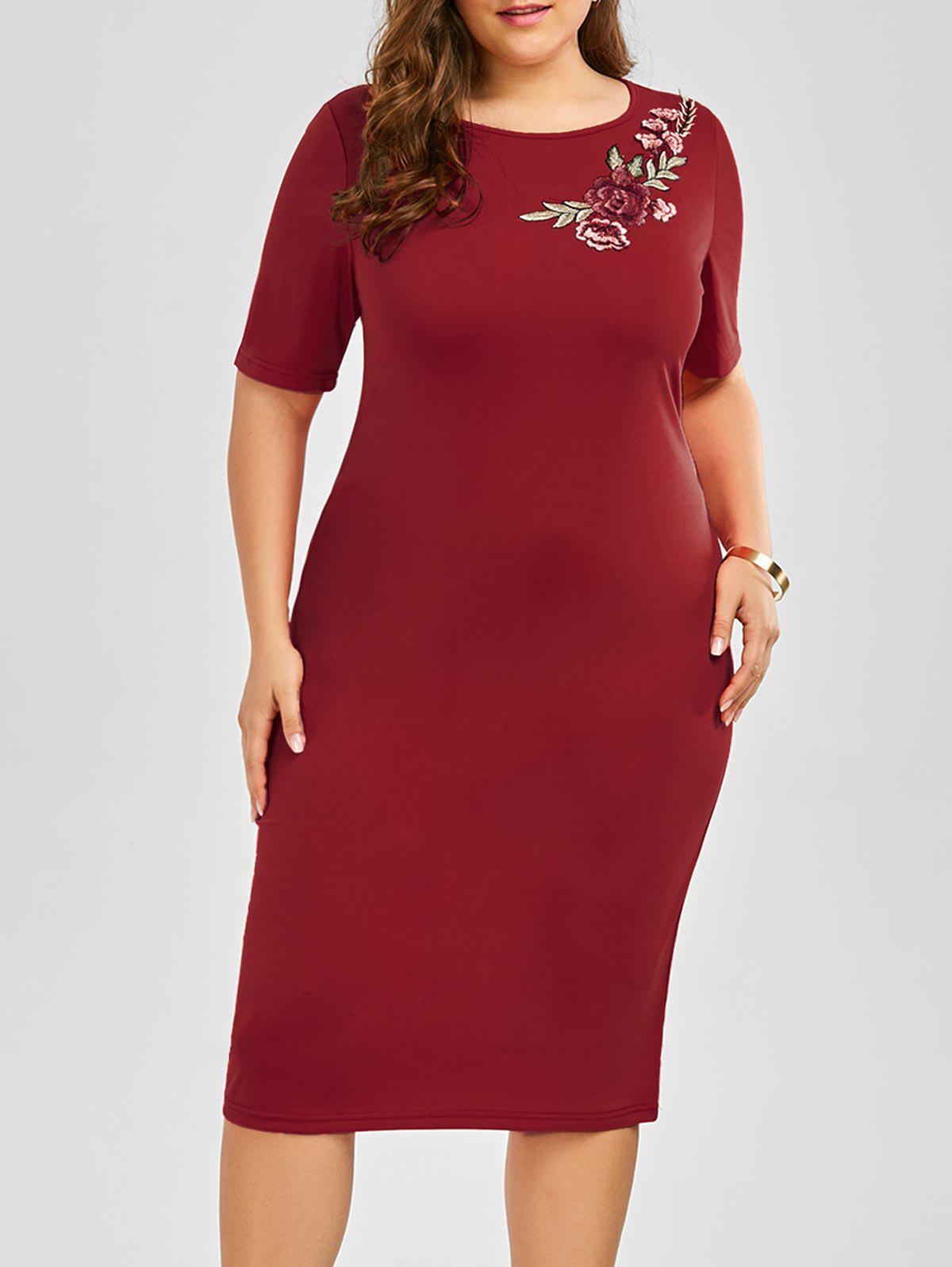 Plus Size Embroidered Embellished Midi Sheath Dress - WINE RED 5XL
