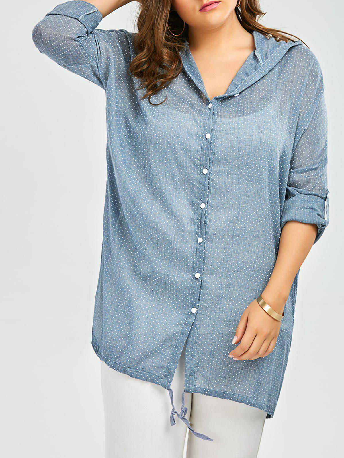 Plus size dot hooded button up top with pockets light for Plus size light blue shirt