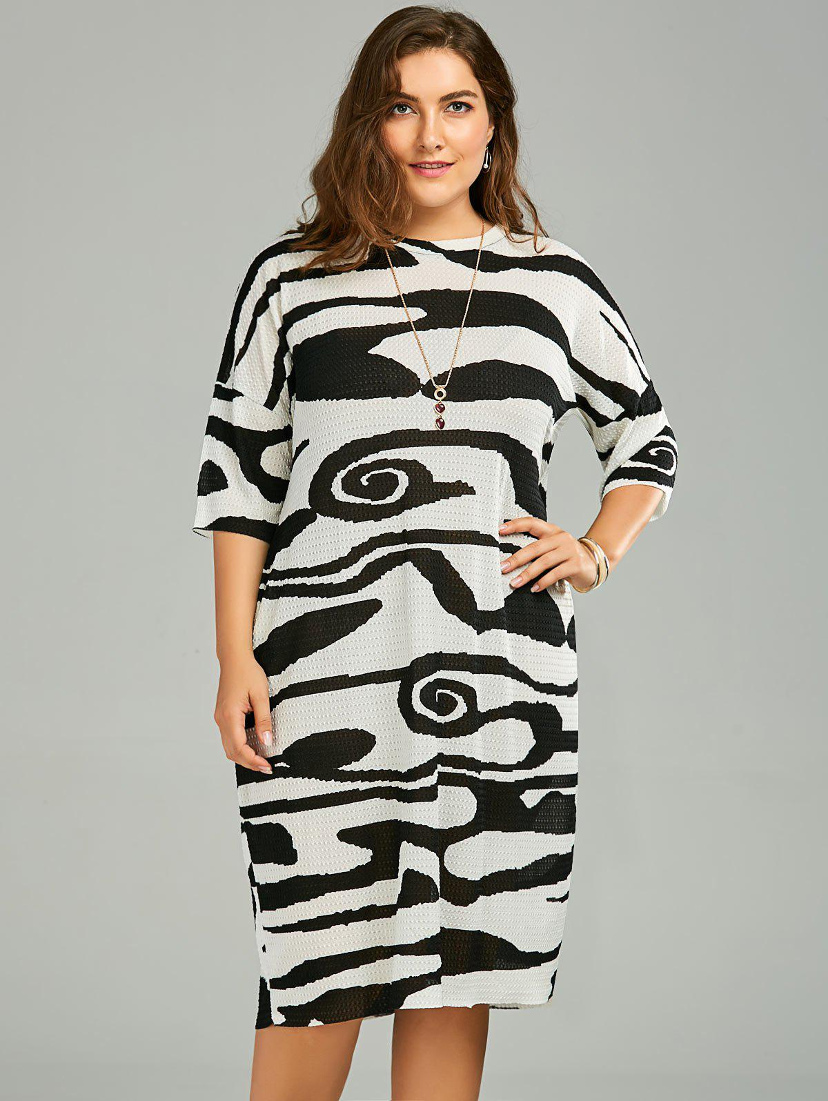 Plus Size Funny Printed Baggy T-Shirt Dress - BLACK ONE SIZE