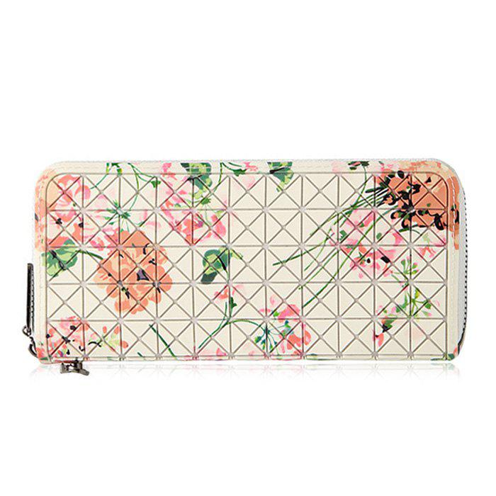 Rhombus Patch imprimé Zip Around Wallet - Blanc Cassé