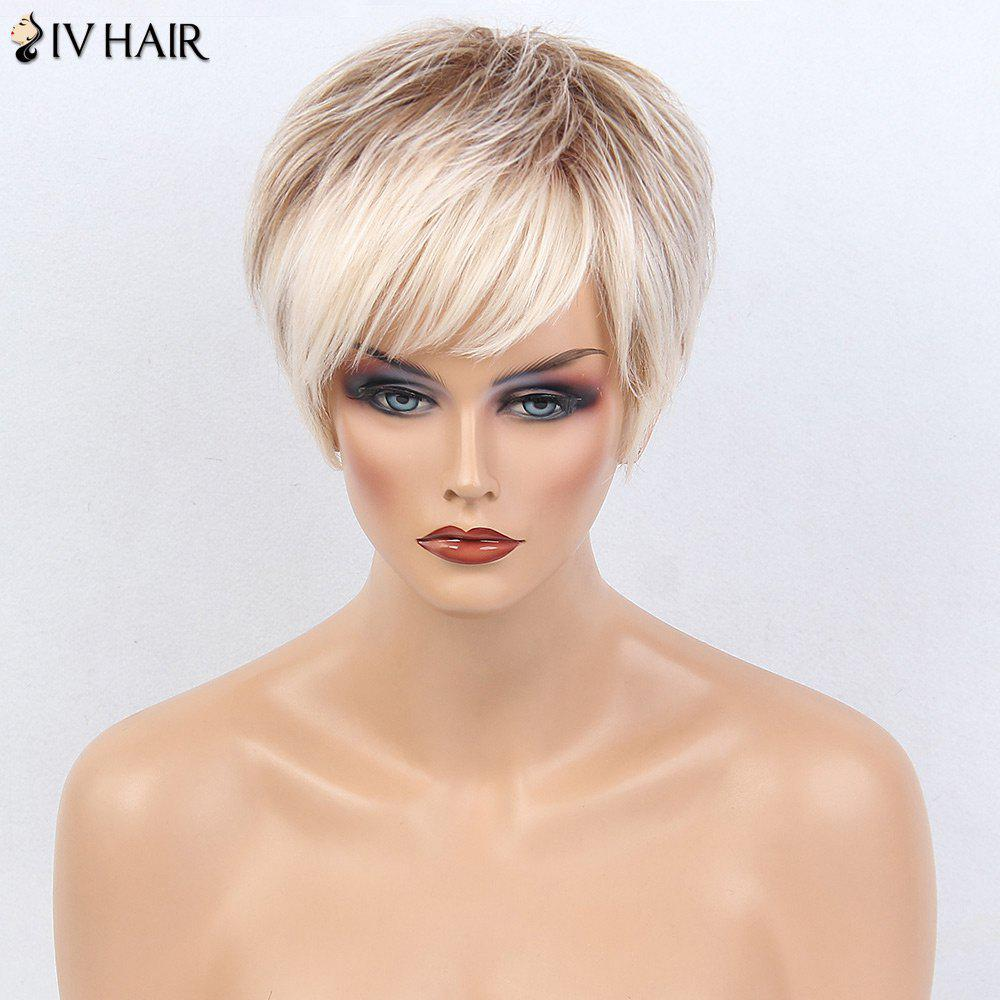 Siv Hair Short Layered Silky Straight Side Bang Colormix Human Hair Wig siv hair short side bang silky straight layered ombre human hair wig