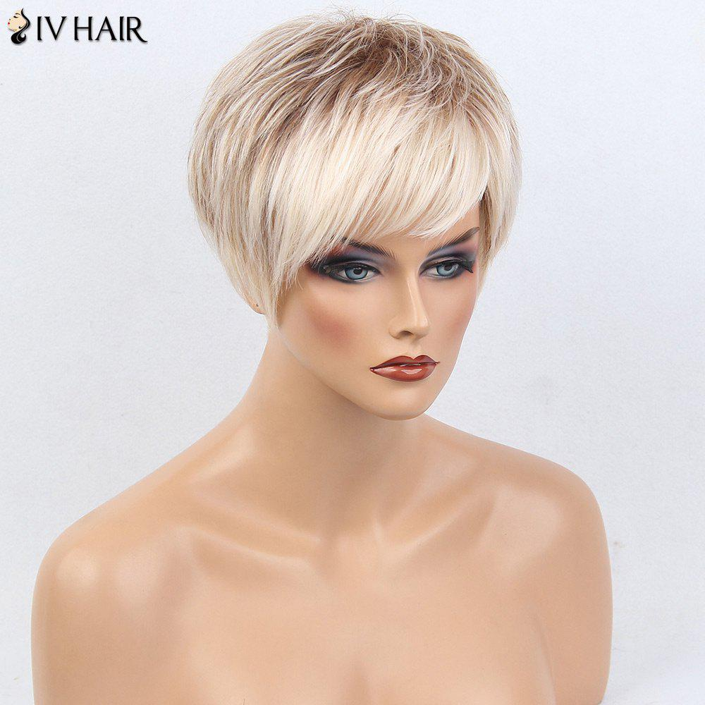 Siv Hair Short Layered Silky Straight Side Bang Colormix Human Hair Wig - WHITE/BROWN