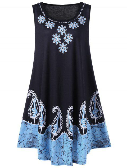 Plus Size Floral and Paisley Sleeveless Dress - BLACK/BLUE 2XL