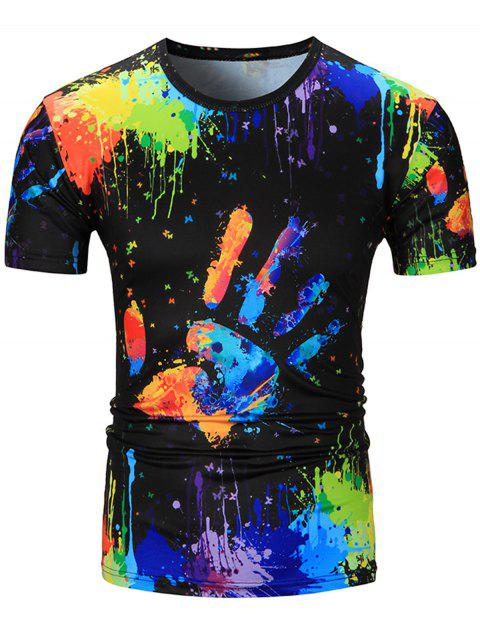 3a16ade72 41% OFF] 2019 Colorful Splatter Paint Handprint Print T-Shirt In ...