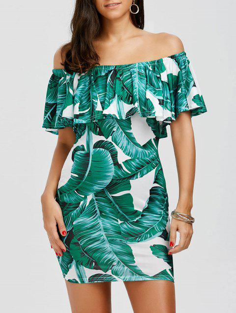 Off The Shoulder Leaf Print Ruffle Holiday Dress - WHITE/GREEN L