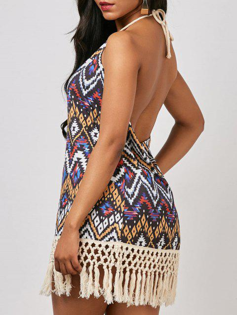 Halter Geometrical Backless Sexy Boho Mini Dress - multicolore S