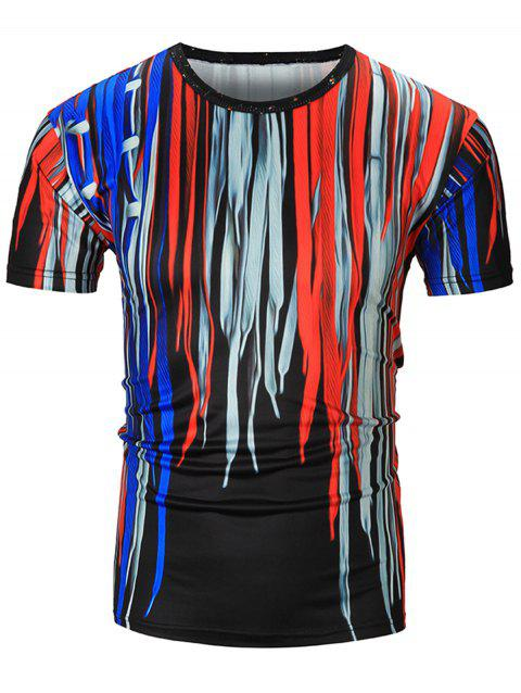 3D Colorful Shoelace Print Short Sleeve T-Shirt - COLORMIX 2XL
