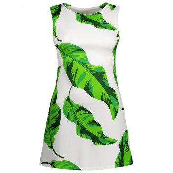 Sleeveless Leaf Print Mini Dress
