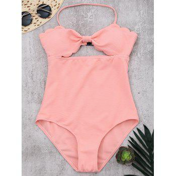 Halter Scalloped Cut Out Swimsuit