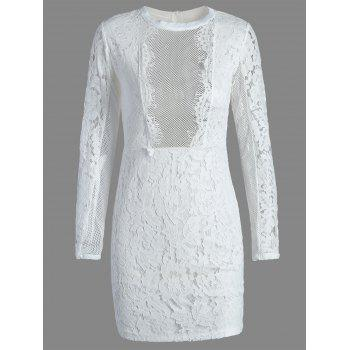 Fitted Long Sleeve Mini Lace Dress