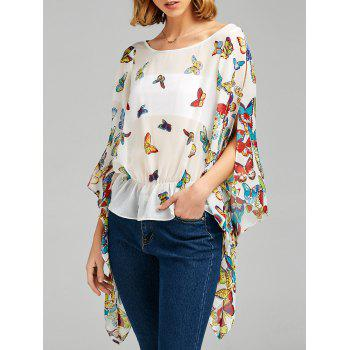 Slit Sleeve Butterfly Print Peplum Blouse - WHITE 2XL