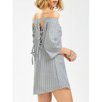 Lace Up Off The Shoulder Striped Mini Shift Dress