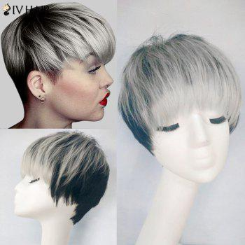 Siv Hair Colormix Full Bang Straight Short Pixie Human Hair Wig