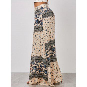 High Waisted Floral Print Slit Skirt