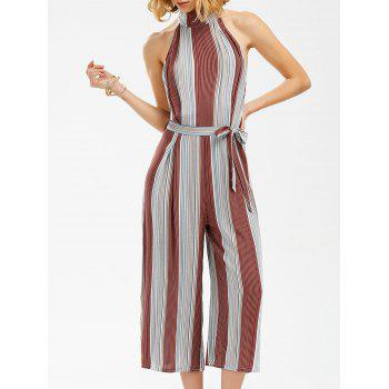 Mock Neck Stripe Backless Wide Leg Jumpsuit