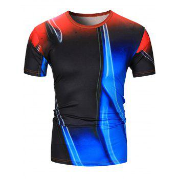 Color Block Abstract Print Short Sleeve T-Shirt