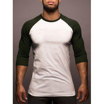 Three Quarter Sleeve Two Tone Tee