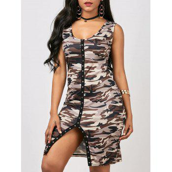 Front Slit Sleeveless Bodycon Camo Dress