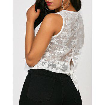Tied Lace Trim Crop Top