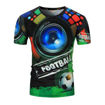 3D Shot and Football Print Short Sleeve T-Shirt
