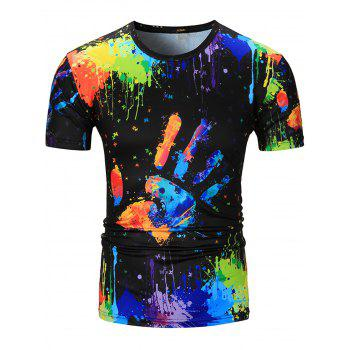 Colorful Splatter Paint Handprint Print T-Shirt