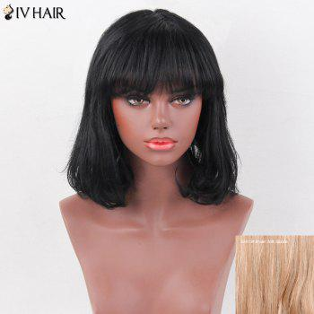 Siv Hair Natural Straight Full Bang Bob Medium Human Hair Wig