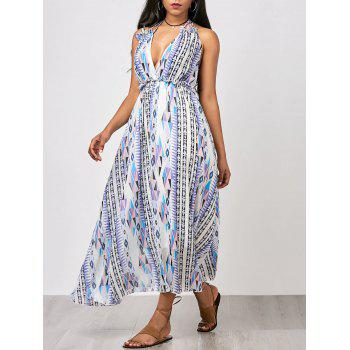 Criss Cross Printed Chiffon Maxi Summer Dress