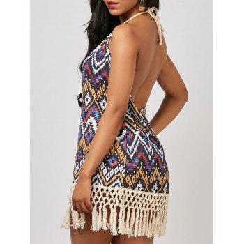Halter Geometrical Backless Mini Dress