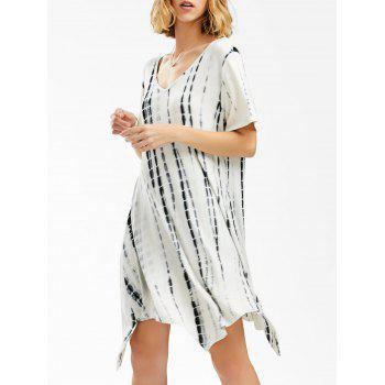 V Neck Tie Dye Asymmetrical Dress