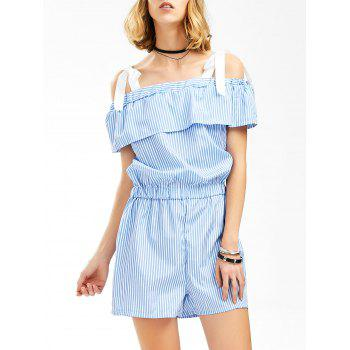 Flounced Striped Romper